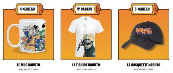 Nouvelle collection Naruto en grand format: bonus et cadeaux des numéro 4 à 6
