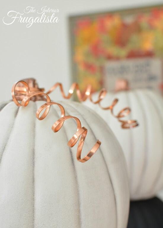 Pumpkin Topiary Copper Wire Tendrils