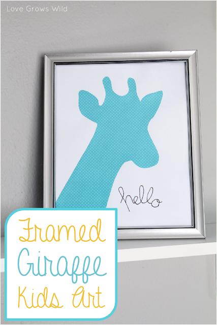 Inexpensive Framed Giraffe Kids Art by Love Grows Wild