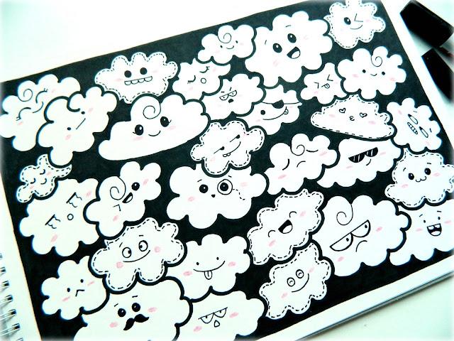 Kawaii clouds doodle