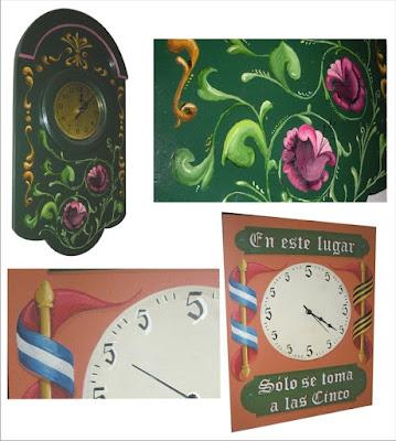 Filete porteño, relojes, Fileteado Stz