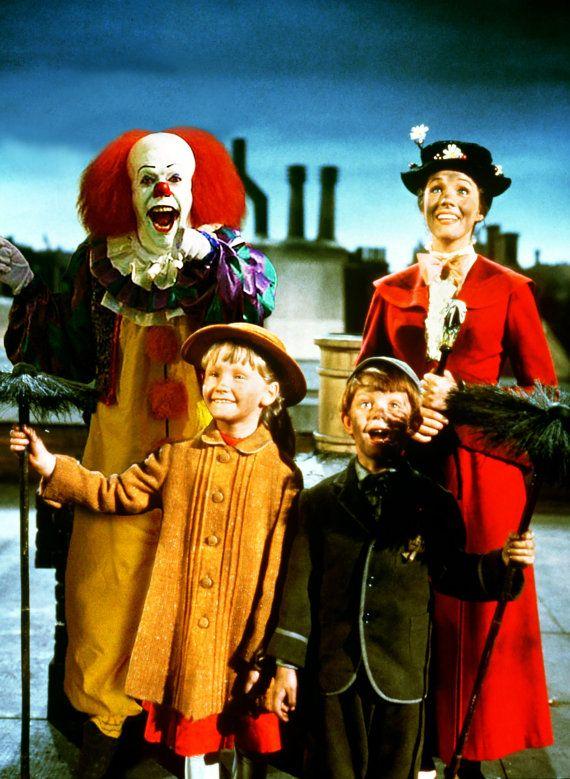 Hay una teoría que dice que Mary Poppins y el payaso Pennywise, son miembros de la misma especie.