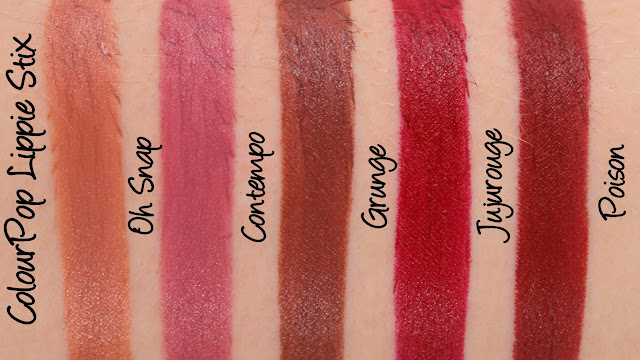ColourPop Lippie Stix - Oh Snap, Contempo, Grunge, Jujurouge and Poision Swatches & Review