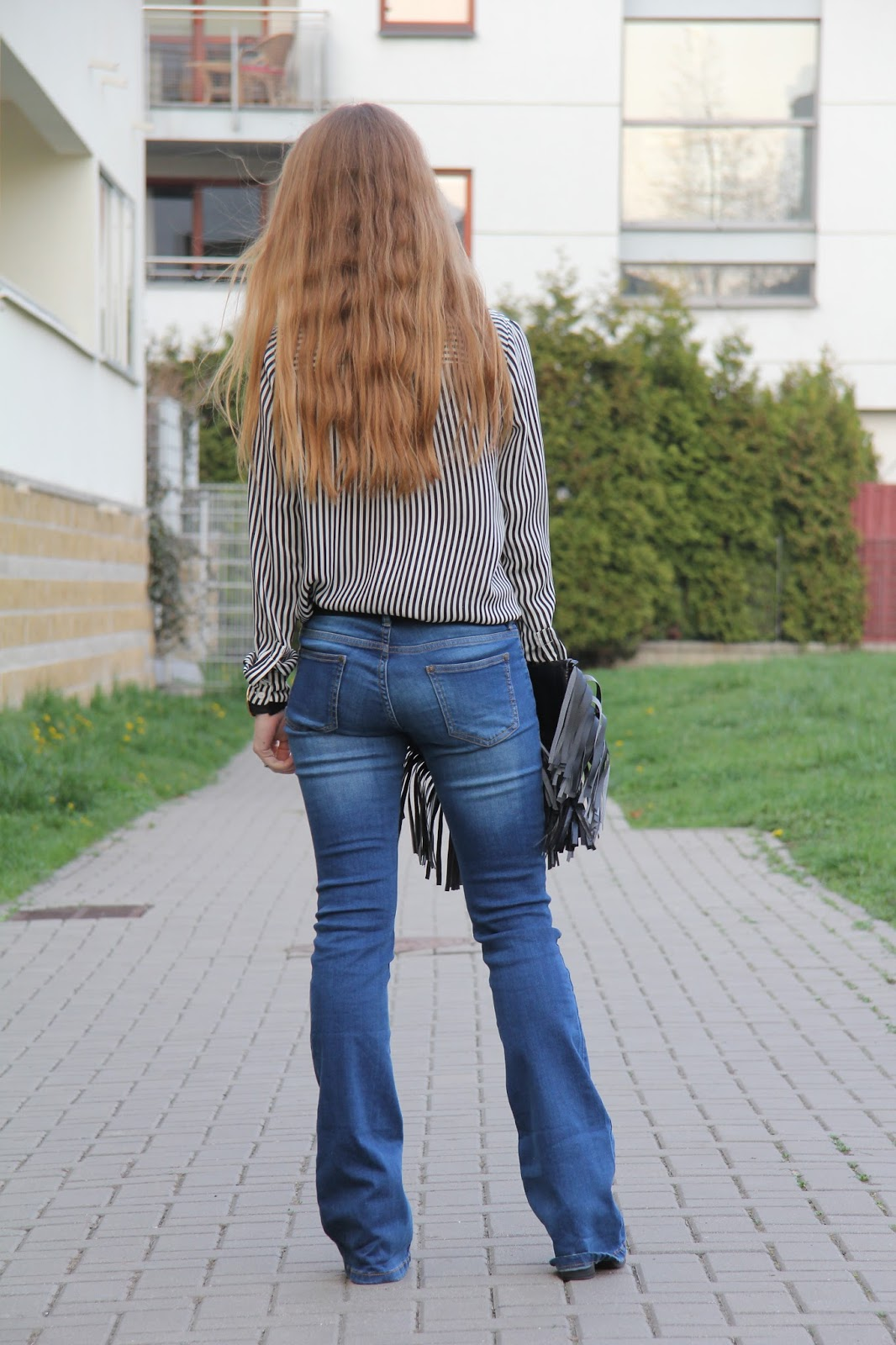 stripes shirt and flared jeans