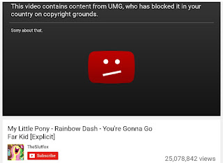 YouTube message stating that UMG has blocked the video