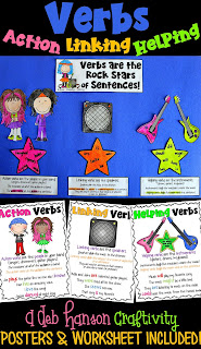 Help students understand the various functions of action verbs, linking verbs, and helping verbs with the rock band analogy! Your upper elementary and middle school students will enjoy this types of verbs craftivity!