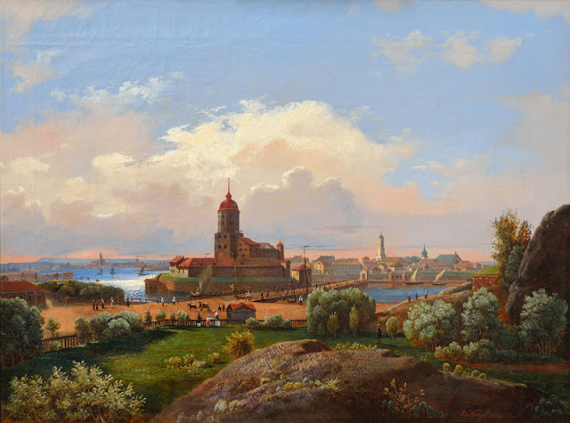 Kuvassa maalaus linnoitusrakennelmasta kaupunkimaisemassa.
