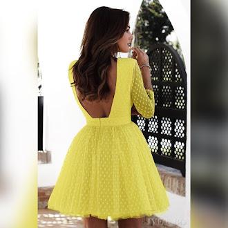 Μοντέρνο κοντό κίτρινο φόρεμα PERSIA