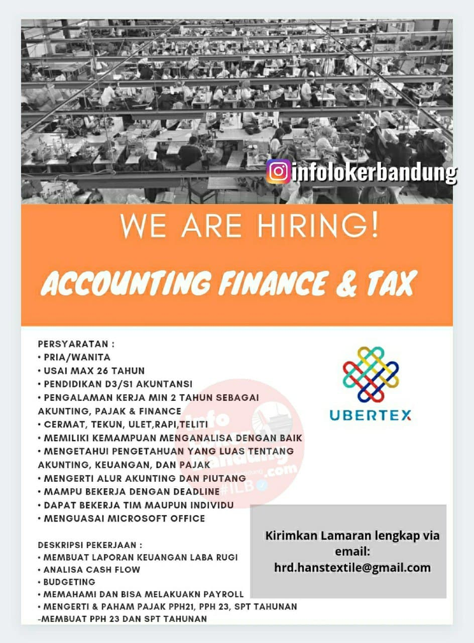 Lowongan Kerja Accounting Finance & Tax Usaha Bersama Textile Bandung Mei 2021