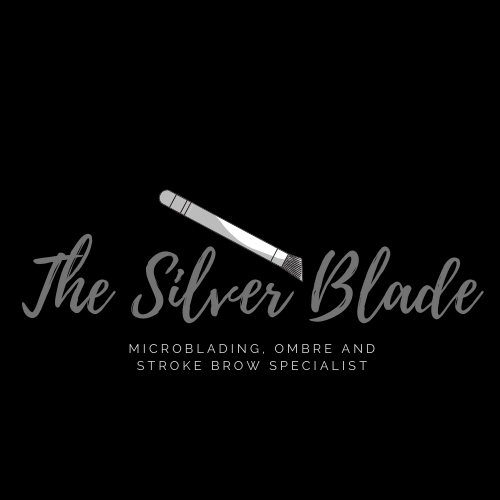 The SIlver Blade Logo, all black background with silver style writing, and a microblading tool,