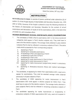 POLICY TO CONDUCT THE EXAMINATIONS 2021 OF CLASS 9TH TO 12TH AND PASS THE STUDENTS IN CLASS 9TH AND 11TH