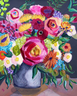 Happy Girl original mixed media floral painting by Pennsylvania artist Merrill Weber