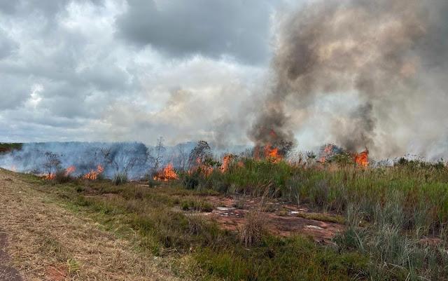Chamas do incêndio quando ainda estava ativo, em outubro deste ano, em Andaraí, na Bahia (Foto: Divulgação/Sematur Andaraí)