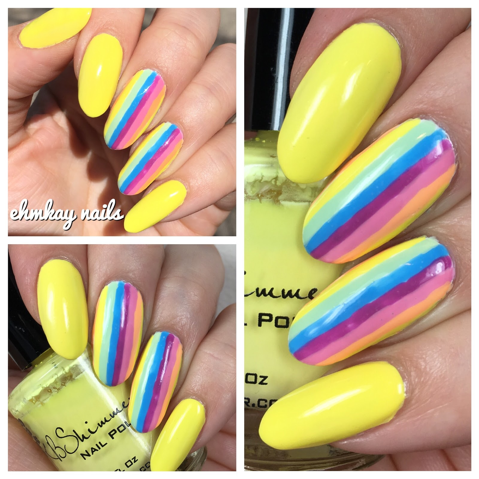 ehmkay nails: Pastel Neon Stripe Nail Art
