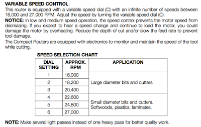 Dewalt 611 variable speed router setting for recommended RPMs