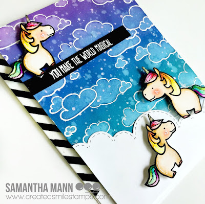 You Make the World Magical Card by Samantha Mann, Create a Smile Stamps, unicorns, distress ink, handmade card, #distressoxide #unicorn #card #createasmilestamps