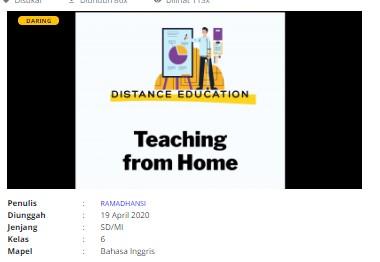 Download RPP Daring Bahasa Inggris Kelas 6 SD