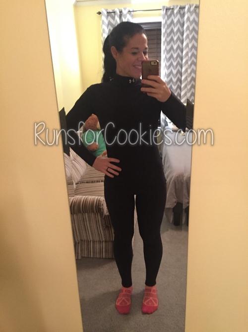 "Katie wearing ""ninja"" running clothes"