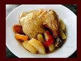 Pollo al Horno Relleno de Manzanas y Orejones
