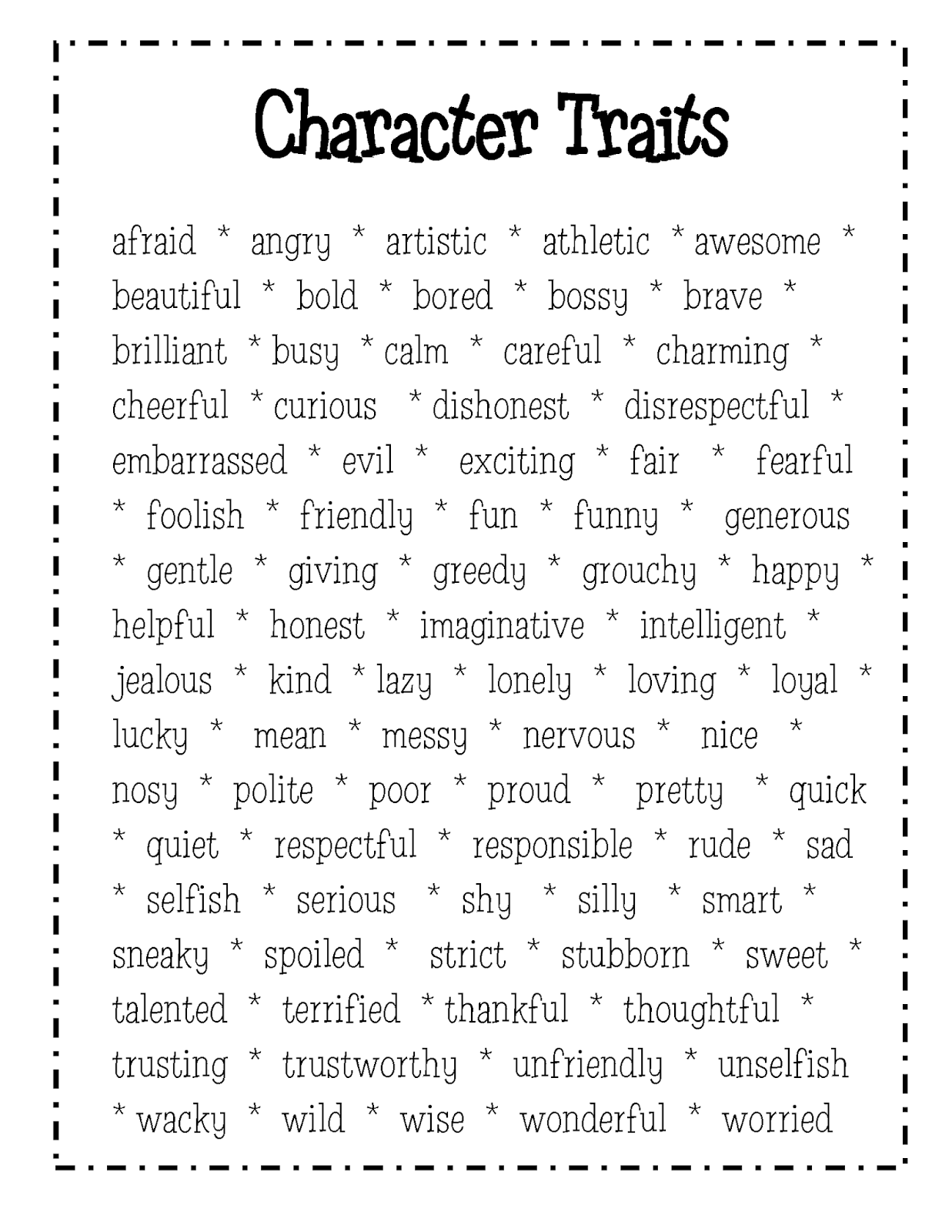 Character Traits Graphic Organizer For 2nd Grade