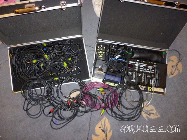 ukulele effects pedal board messy