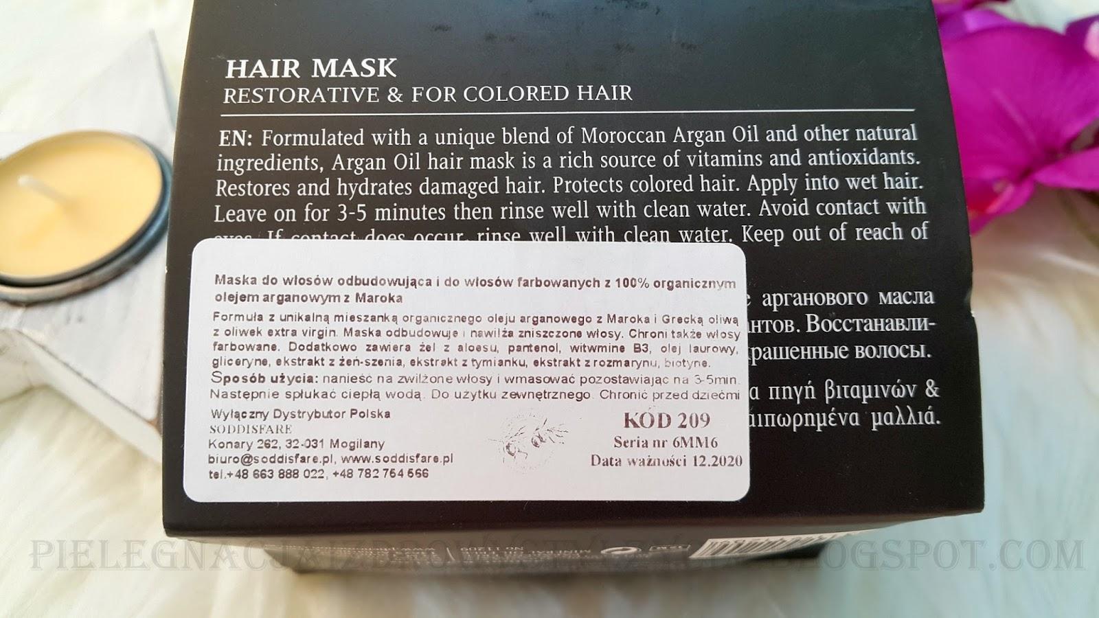 Maska do włosów farbowanych Olivolio Argan Oil opinie, blog