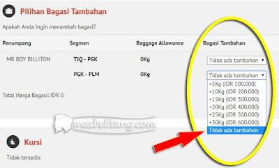 Tarif Bagasi Terdaftar Wings Air Rute Belitung-Palembang