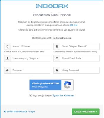 Mendaftar buat akun dan masukkan email password nomor hp di Indodax
