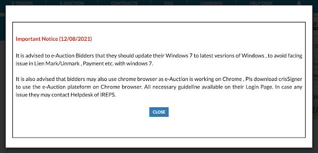 IREPS notice for their bidders