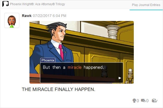 Phoenix Wright Ace Attorney Trials and Tribulations miracle happened