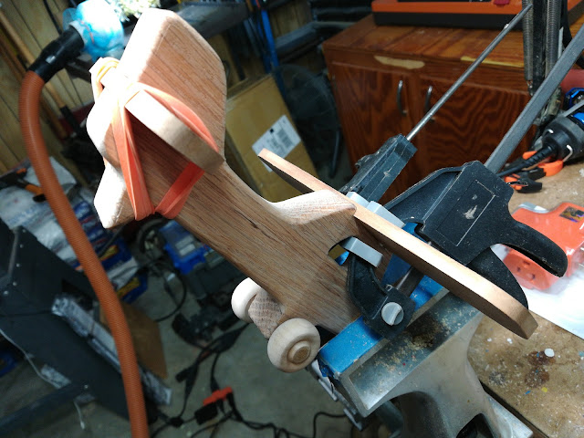Handmade Wood Toy Airplane - Glue Ups Can Be Tricky - Rubber Bands Can Be A Big Help