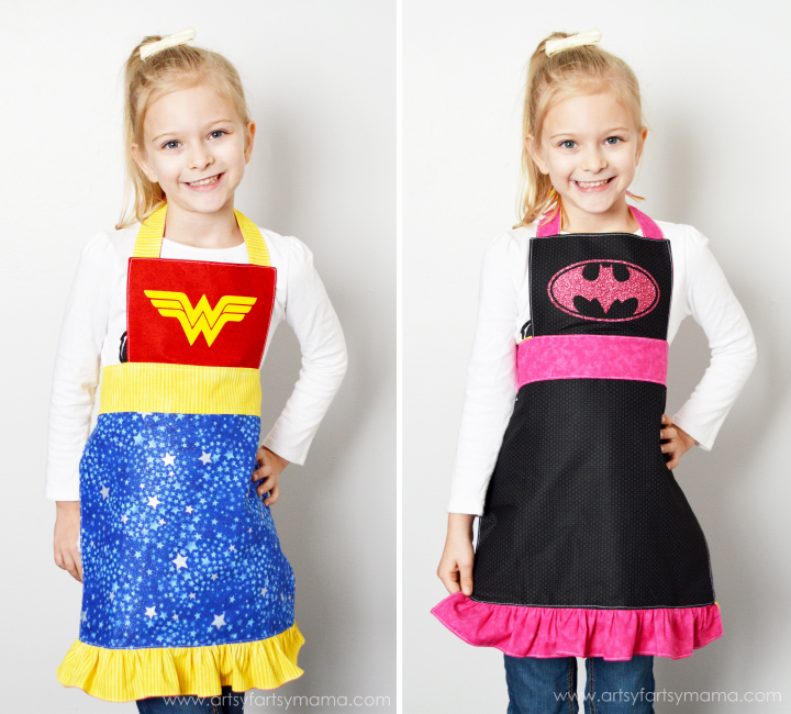 Reversible Superhero Apron Tutorial at artsyfartsymama.com