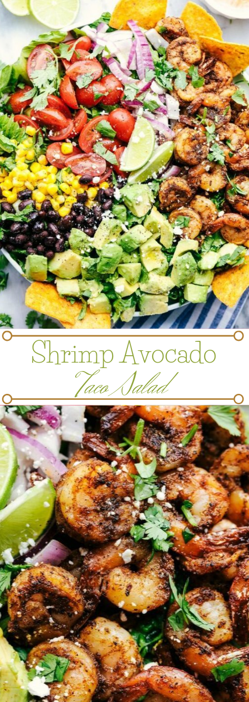 SHRIMP AVOCADO TACO SALAD #avocado #salad #dinner #healthylunch #taco