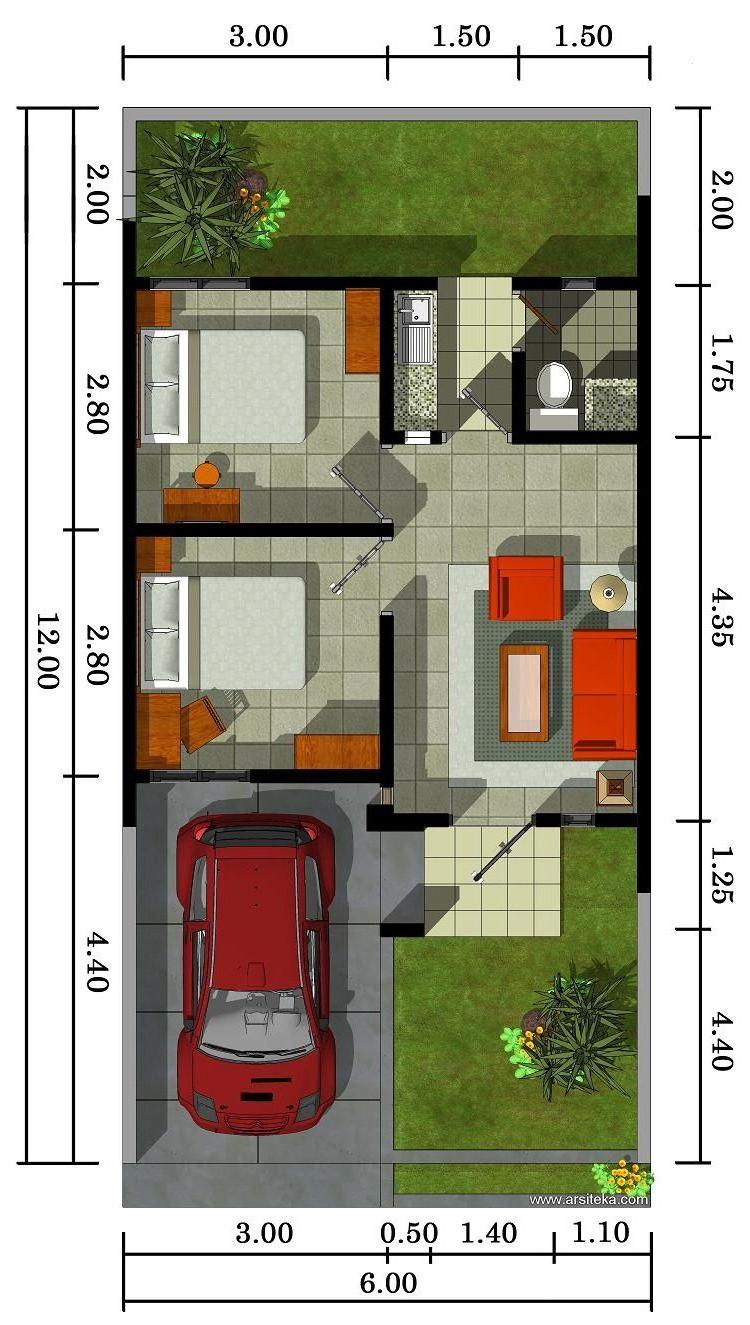 Desain Denah Rumah Minimalis 1 Lantai Type 36 Desain