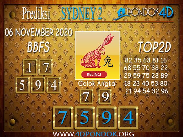 Prediksi Togel SYDNEY2 PONDOK4D 06 NOVEMBER 2020