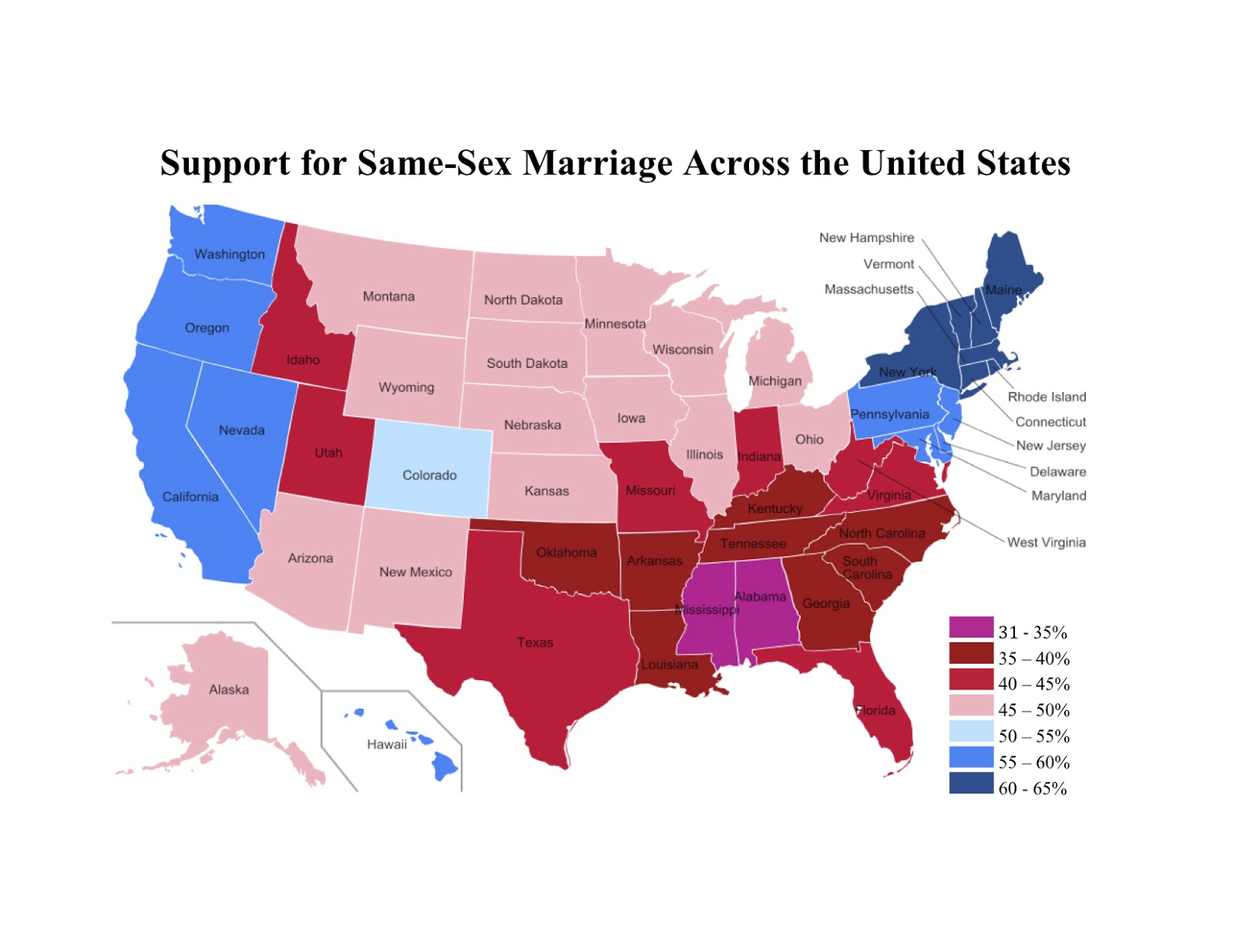 What states support same sex marriage
