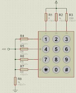 Teclado 3x4 con divisores de voltajes.