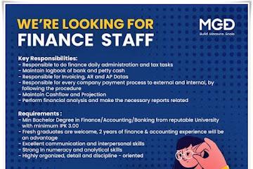 Lowongan Kerja Finance Staff MGDidital Bandung