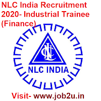 NLC India Recruitment 2020, Industrial Trainee (Finance)