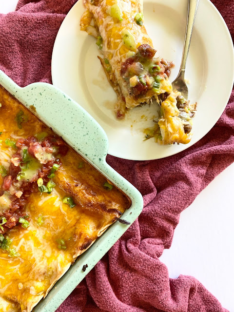 Mexican Shredded Beef Enchiladas #ad #iowabeef #sweetsavoryeats