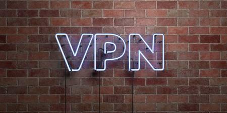 レンガ壁の上にVPNのロゴ