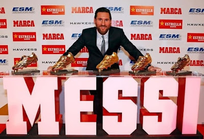 #Messi will receive his #Golden #Boot award on October 16th for being #LaLiga's top scorer last season with 36 goals. It will be his 6th #Golden #Boot in his career.