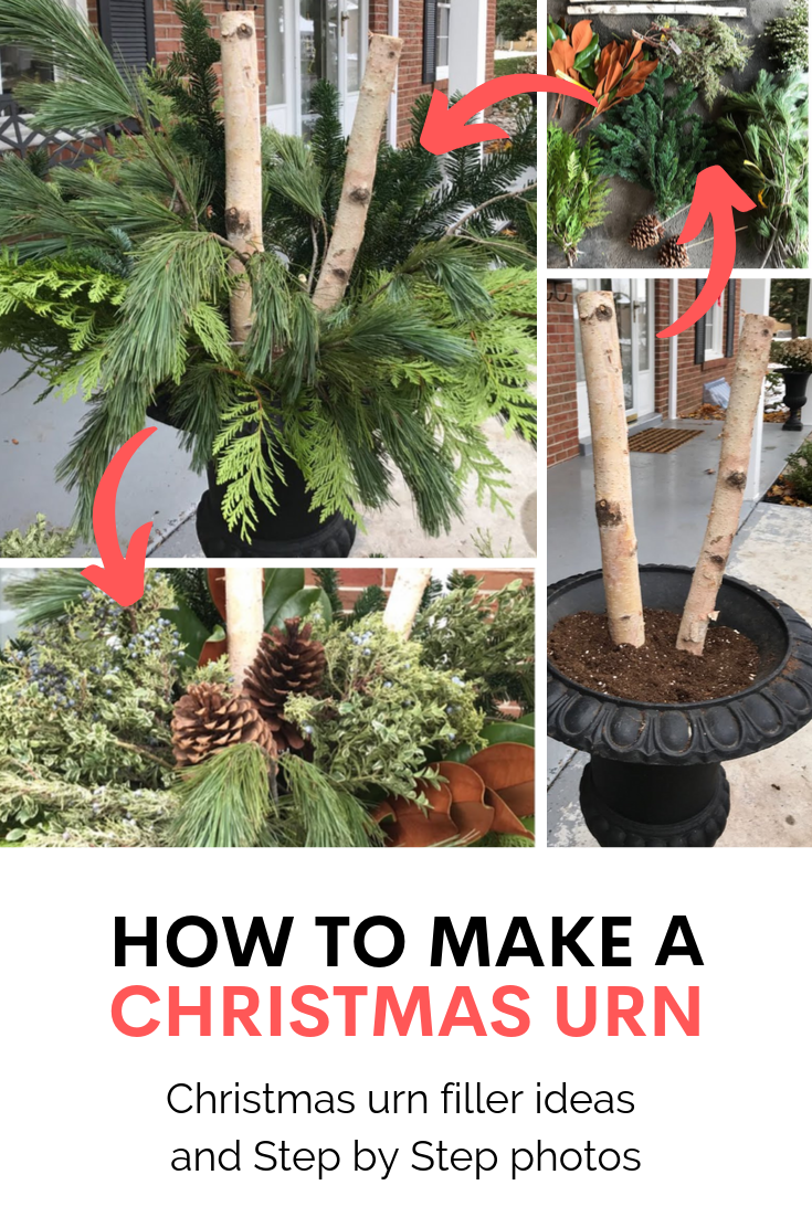 DIY Christmas urn, Christmas urn filler, outdoor christmas urns, how to make christmas urn