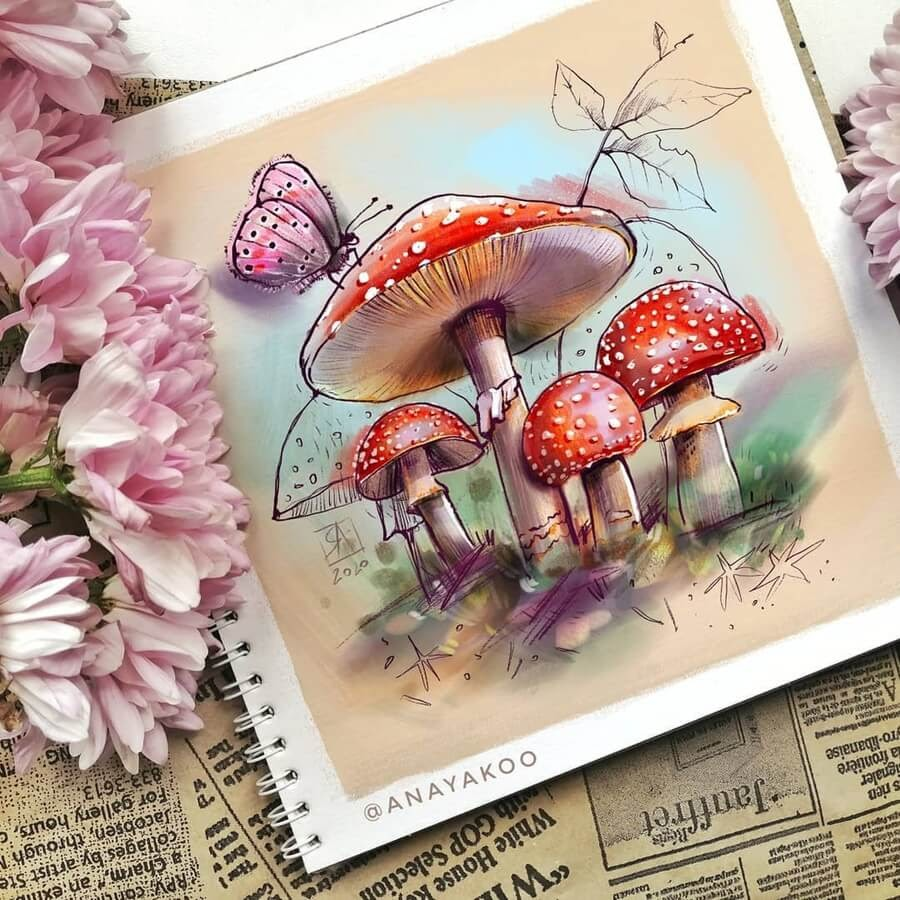 05-Butterfly-and-red-mushrooms-Anya-Yakovleva-www-designstack-co