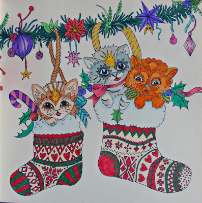 Adult coloring christmas cats