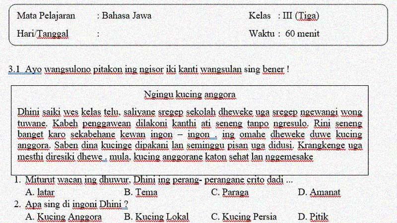 Soal Penilaian Tengah Semester 1 Bahasa Jawa Kelas 3 dan Kunci Jawaban