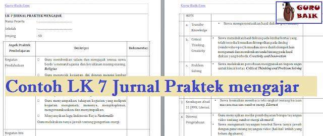 contoh lk 7 jurnal praktek mengajar SD