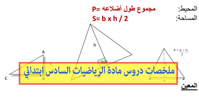 ملخصات دروس مادة الرياضيات السادس ابتدائي