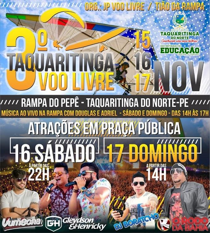 3° Taquaritinga Voo Livre será realizado em Taquaritinga do Norte