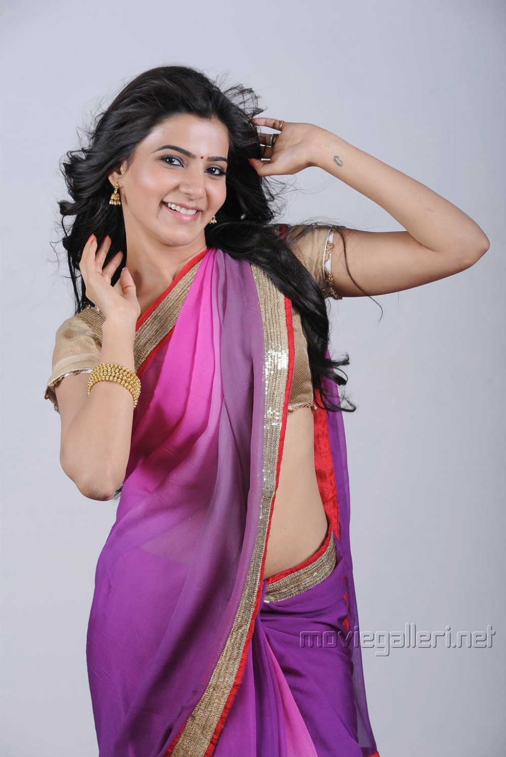 Actress Samantha Photoshoot Stills In Violet Saree  Great -7114